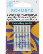 Schmetz Gold Titanium Embroidery Machine Needle Size 11/75 5ct - Product Image